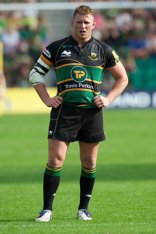 Dylan Hartley of Northampton Saints during the Aviva Premiership match between Northampton Saints and Exeter Chiefs at Franklin's Gardens on Sunday 9th September 2012 (Photo by Rob Munro)