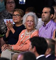 MIAMI, FL - JUNE 15: Former Florida Governor Jeb Bush announces his candidacy for the 2016 Republican Presidential nomination during a rally at Miami Dade College on June 15, 2015 in Miami, Florida. <br /> <br /> <br /> People:  Barbara Bush, Columba Bush
