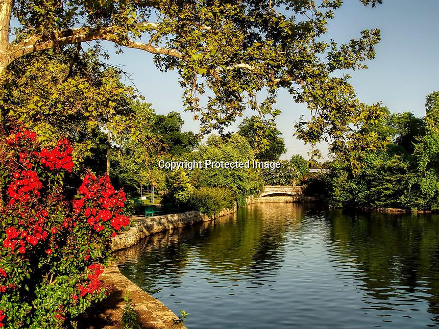 Summer morning at lake in Centennial Park. Nashville, TN.