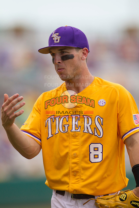 LSU Tigers shortstop Alex Bregman (8) before the Southeastern Conference baseball game against the Texas A&M Aggies on April 25, 2015 at Alex Box Stadium in Baton Rouge, Louisiana. Texas A&M defeated LSU 6-2. (Andrew Woolley/Four Seam Images)