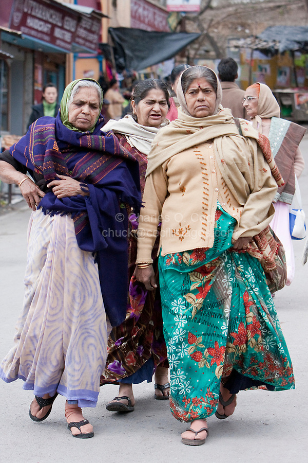 India, Rishikesh.  Indian Women in Traditional Dress.