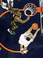 CHARLOTTESVILLE, VA- DECEMBER 6: Sammy Zeglinski #13 of the Virginia Cavaliers shoots the ball next to Erik Copes #4 of the George Mason Patriots during the game on December 6, 2011 at the John Paul Jones Arena in Charlottesville, Virginia. Virginia defeated George Mason 68-48. (Photo by Andrew Shurtleff/Getty Images) *** Local Caption *** Erik Copes;Sammy Zeglinski
