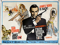 BNPS.co.uk (01202) 558833.<br /> Pic: Ewbank's/BNPS<br /> <br /> Pictured: A linen-backed poster promoting From Russia With Love achieved £10,000.  <br /> <br /> A collection of rare James Bond movie posters and memorabilia has sold for £220,000 following a bidding war.<br /> The adverts in the sale included a prized British Quad poster with four different works of art promoting the 1965 film Thunderball, which fetched £10,000.<br /> <br /> The 30ins by 40ins poster was designed to be cut into four pieces, so very few examples - complete or otherwise - have survived.