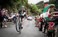 Jempy Drucker (LUX/Bora-Hansgrohe) pulling a wheelie up the brutal (last climb) Alto de Arraiz (up to 25% gradients!), 7km from the finish <br /> <br /> Stage 12: Circuito de Navarra to Bilbao (171km)<br /> La Vuelta 2019<br /> <br /> ©kramon