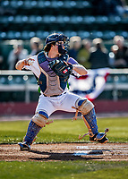 29 May 2021: Vermont Lake Monsters catcher Tyler Favretto, from Mont Royal, Quebec, Canada, in action against the Norwich Sea Unicorns at Centennial Field in Burlington, Vermont. The Lake Monsters defeated the Sea Unicorns 6-3 in their FCBL Home Opener, the first home game played at Centennial Field post-Covid-19 pandemic. Mandatory Credit: Ed Wolfstein Photo *** RAW (NEF) Image File Available ***