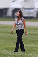 Jun 2, 2018; Joliet, IL, USA; Laurie Force wife of NHRA funny car driver John Force (not pictured) during qualifying for the Route 66 Nationals at Route 66 Raceway. Mandatory Credit: Mark J. Rebilas-USA TODAY Sports