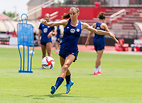 HOUSTON, TX - JUNE 8: Alex Morgan #13 of the USWNT takes a shot during a training session at the University of Houston on June 8, 2021 in Houston, Texas.