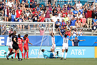 Cary, NC - Sunday October 22, 2017: Samantha Mewis reacts after scoring her first goal during an International friendly match between the Women's National teams of the United States (USA) and South Korea (KOR) at Sahlen's Stadium at WakeMed Soccer Park. The U.S. won the game 6-0.
