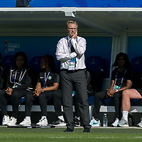 GRENOBLE, FRANCE - JUNE 22: Thomas Dennerby coach of the Nigerian National Team during a game between Panama and Guyana at Stade des Alpes on June 22, 2019 in Grenoble, France.