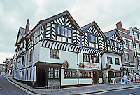 Chester: Ye Olde King's Head, described as a new buiding in 1633--persistence of medieval building. This was a private house on lower Bridge St.
