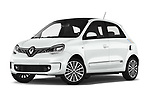 Stock pictures of low aggressive front three quarter view of a 2019 Renault Twingo Edition One + 5 Door Hatchback