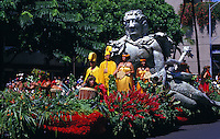 a float in the Aloha Festivals  Parade, beautifully decorated with island flowers