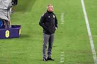 NASHVILLE, TN - SEPTEMBER 23: Head coach Gary Smith of Nashville SC watches from the technical area during a game between D.C. United and Nashville SC at Nissan Stadium on September 23, 2020 in Nashville, Tennessee.