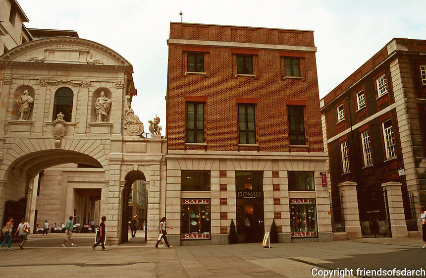 London:  St. Paul's Churchyard, entry to Paternoster Square to left through formal gate by Hawksmoor.