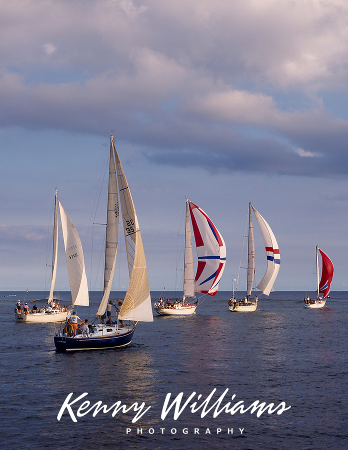 Sailboats, Pacific Ocean, Hawaii, USA.
