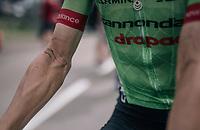 Pierre Rolland's (FRA/Cannondale-Drapac) dirt & sweat after the race<br /> <br /> 104th Tour de France 2017<br /> Stage 8 - Dole › Station des Rousses (187km)