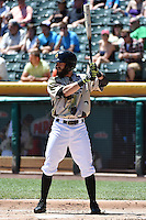 Matt Long (15) of the Salt Lake Bees at bat against the Fresno Grizzlies at Smith's Ballpark on May 26, 2014 in Salt Lake City, Utah.  (Stephen Smith/Four Seam Images)