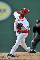 Starting pitcher Anderson Espinoza (39) of the Greenville Drive delivers a pitch in his Class A debut in a game against the Savannah Sand Gnats on Saturday, September 5, 2015, at Fluor Field at the West End in Greenville, South Carolina. Espinoza is a 17-year-old from Venezuela. (Tom Priddy/Four Seam Images)