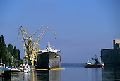 Szczecin, Poland. Ocean going ship at the dockside in the port.