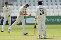 Lyndon James of Nottinghamshire celebrates taking the wicket of Daniel Lawrence during Nottinghamshire CCC vs Essex CCC, LV Insurance County Championship Group 1 Cricket at Trent Bridge on 6th May 2021