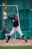GCL Yankees West center fielder Antonio Cabello (25) at bat during the first game of a doubleheader against the GCL Braves on July 30, 2018 at Champion Stadium in Kissimmee, Florida.  GCL Yankees West defeated GCL Braves 7-5.  (Mike Janes/Four Seam Images)