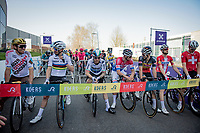 champions row at the race start: Olympic champipon Greg Van Avermaet (BEL/AG2R Citroën), World Champion Julian Alaphilippe (FRA/Deceuninck - QuickStep), European Champion Giacomo Nizzolo (ITA/Qhubeka ASSOS), Dutch national champion Mathieu Van der Poel (NED/Alpecin-Fenix), Belgian national champion Dries De Bondt (BEL/Alpecin-Fenix), Danisch national champion Kasper Asgreen (DEN/Deceuninck - Quick Step) & Suisse national champion Stefan Küng (SUI/Groupama - FDJ)<br /> <br /> 76th Dwars door Vlaanderen 2021 (MEN1.UWT)<br /> 1 day race from Roeselare to Waregem (184km)<br /> <br /> ©kramon