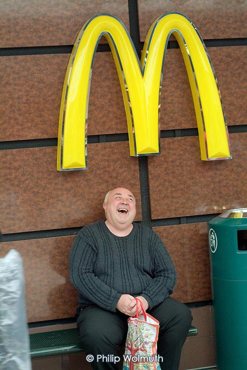 Outside a Macdonalds restaurant, Hartlepool.
