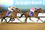 February 20, 2021: PINK KAMEHAMEHA #7 ridden by Keita Tosaki wins The Saudi Derby for Hideyuki Morie on Saudi Cup Day, King Abdulaziz Racecourse, Riyadh, Saudi Arabia. Shamela Hanley/Eclipse Sportswire/CSM