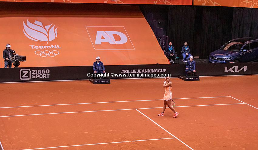 Den Bosch, The Netherlands, April 17, 2021,    Maaspoort, Billie Jean King Cup  Netherlands -  China , <br /> Photo: Tennisimages/Henk Koster