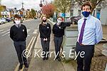 Gaelcholáiste Chiarraí principal Ruairí O'Cinnéide welcoming back students on Monday. Front right: Ruairí O'Cinnéide. Back l to r: Daithí O'Loinsigh, Ella Ni Chonchúir and Grace de Barra.