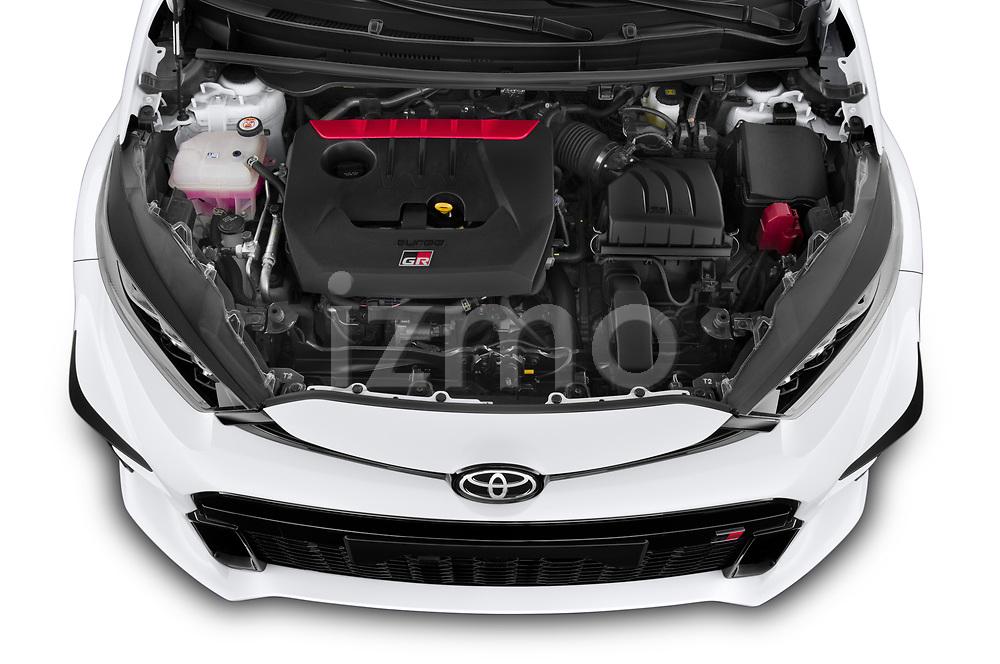 Car Stock 2021 Toyota Yaris GR 3 Door Hatchback Engine  high angle detail view