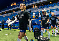 LE HAVRE, FRANCE - APRIL 13: Abby Dahlkemper #7 of the USWNT enters the field before a game between France and USWNT at Stade Oceane on April 13, 2021 in Le Havre, France.