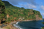 Village de fonds saint Jean sur la cote sud est Ile de la Dominique.