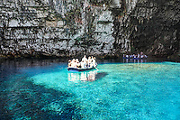The tour in the cave of Melissani lake in Kefalonia island, Greece