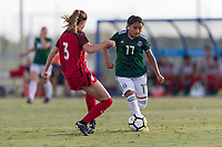 Bradenton, FL - Sunday, June 12, 2018: Natalia Mauleon, Kate Wiesner during a U-17 Women's Championship Finals match between USA and Mexico at IMG Academy.  USA defeated Mexico 3-2 to win the championship.