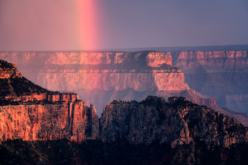 View of Grand Canyon with rainbow from Bright Angel Point. North Rim of Grand Canyon National Park, Arizona