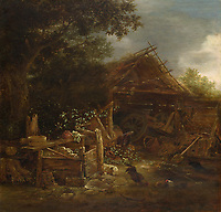 Full title: A Farmyard<br /> Artist: Isack van Ostade<br /> Date made: about 1640<br /> Source: http://www.nationalgalleryimages.co.uk/<br /> Contact: picture.library@nationalgallery.co.uk<br /> <br /> Copyright © The National Gallery, London
