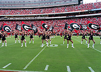 ATHENS, GA - SEPTEMBER 18: Georgia Cheerleaders before a game between South Carolina Gamecocks and Georgia Bulldogs at Sanford Stadium on September 18, 2021 in Athens, Georgia.