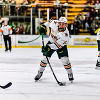 26 January 2019:  University of Vermont Catamount Forward Vlad Dzhioshvili, a Sophomore from Moscow, Russia, in second period action against the Merrimack College Warriors at Gutterson Fieldhouse in Burlington, Vermont. The Catamounts defeated the Warriors 4-3 in overtime to take both games of their weekend America East conference series. Mandatory Credit: Ed Wolfstein Photo *** RAW (NEF) Image File Available ***