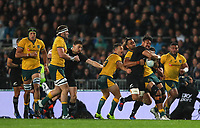 Ardie Savea is tackled during the Bledisloe Cup Rugby match between the New Zealand All Blacks and Australia Wallabies at Eden Park in Auckland, New Zealand on Saturday, 17 August 2019. Photo: Simon Watts / lintottphoto.co.nz