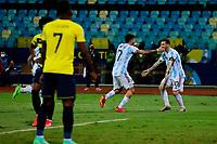3rd July 2021, Estádio Olímpico Pedro Ludovico stadium, Goiânia, Brazil: Copa America Football tournament, Argentina versus Ecuador;   Rodrigo De Paul of Argentina celebrates their goal with Lionel Messi