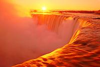 Canada, Ontario, Niagara Falls. Canadian Falls (Horseshoe Falls) at sunrise