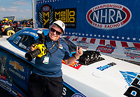 Sep 2, 2019; Clermont, IN, USA; NHRA funny car driver John Force celebrates with photographer Richard Shute after winning the US Nationals at Lucas Oil Raceway. Mandatory Credit: Mark J. Rebilas-USA TODAY Sports