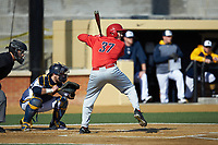 Spencer Horwitz (37) of the Radford Highlanders at bat against the Quinnipiac Bobcats at David F. Couch Ballpark on March 4, 2017 in Winston-Salem, North Carolina. The Highlanders defeated the Bobcats 4-0. (Brian Westerholt/Four Seam Images)