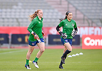goalkeeper Courtney Brosnan (23) of the Irish Republic and goalkeeper Eva Badana (26) of the Irish Republic pictured ahead of a friendly female soccer game between the national teams of Belgium , called the Red Flames and The Republic of Ireland , on sunday 11 th of April 2021  in Brussels , Belgium . PHOTO Dirk Vuylsteke | Sportpix.be | SPP