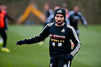 Thursday 20 March 2014<br /> Pictured:Leon Britton<br /> Re: Swansea City Training at their Fairwood training facility, Swansea, Wales,UK