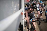 an exhausted Thijs Aerts (BEL/U23/Telenet-Fidea) after finishing<br /> <br /> CX Superprestige Zonhoven 2016