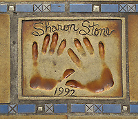 Hand print of the film star, Sharon Stone, outside the Palais des Festivals et des Congres, Cannes, France.