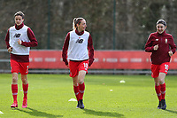 Maurane Marinucci (7) of Standard, Charlotte Cranshoff (18) of Standard  and Noemie Gelders (10) of Standard pictured during the warm up before a female soccer game between Standard Femina de Liege and Sporting Charleroi on the 16th matchday of the 2020 - 2021 season of Belgian Scooore Womens Super League , saturday 13 th of February 2021  in Angleur , Belgium . PHOTO SPORTPIX.BE | SPP | SEVIL OKTEM