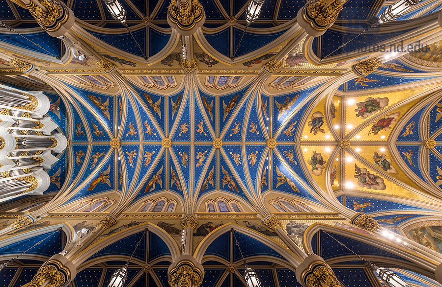 March 31, 2018; Basilica of the Sacred Heart ceiling. (Photo by Barbara Johnston/University of Notre Dame)